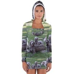 Longhair Weims Women s Long Sleeve Hooded T-shirt