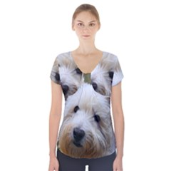 West Highland White Terrier Short Sleeve Front Detail Top