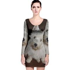 West highland white terrier puppy Long Sleeve Velvet Bodycon Dress