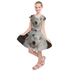 West highland white terrier puppy Kids  Short Sleeve Dress