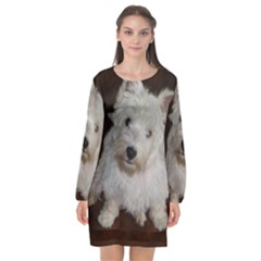West highland white terrier puppy Long Sleeve Chiffon Shift Dress