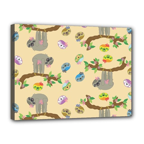Sloth Tan Bg Canvas 16  x 12