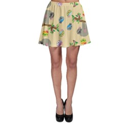 Sloth Tan Bg Skater Skirt