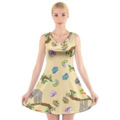 Sloth Tan Bg V-Neck Sleeveless Skater Dress