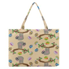 Sloth Tan Bg Medium Zipper Tote Bag