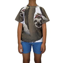 Sloth Hippie Kids  Short Sleeve Swimwear