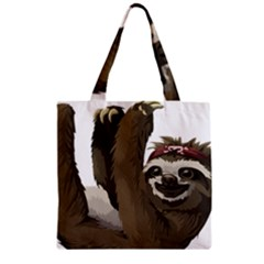 Sloth Hippie Zipper Grocery Tote Bag