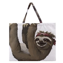 Sloth Hippie Zipper Large Tote Bag
