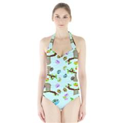 Sloth Blue Bg Halter Swimsuit