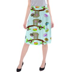 Sloth Blue Bg Midi Beach Skirt