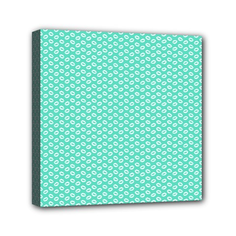 Tiffany Aqua Blue with White Lipstick Kisses Mini Canvas 6  x 6