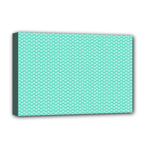 Tiffany Aqua Blue with White Lipstick Kisses Deluxe Canvas 18  x 12