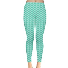 Tiffany Aqua Blue with White Lipstick Kisses Leggings
