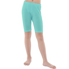 Tiffany Aqua Blue with White Lipstick Kisses Kids  Mid Length Swim Shorts