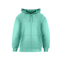 Tiffany Aqua Blue with White Lipstick Kisses Kids  Zipper Hoodie