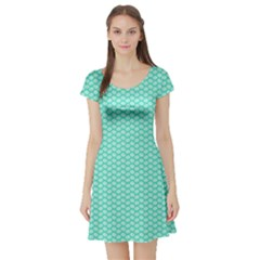 Tiffany Aqua Blue with White Lipstick Kisses Short Sleeve Skater Dress