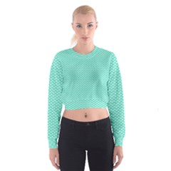 Tiffany Aqua Blue with White Lipstick Kisses Cropped Sweatshirt