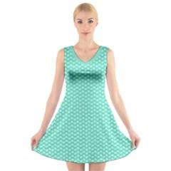 Tiffany Aqua Blue with White Lipstick Kisses V-Neck Sleeveless Skater Dress