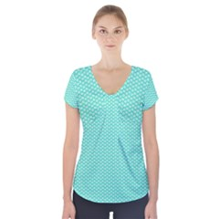 Tiffany Aqua Blue with White Lipstick Kisses Short Sleeve Front Detail Top