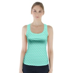 Tiffany Aqua Blue with White Lipstick Kisses Racer Back Sports Top