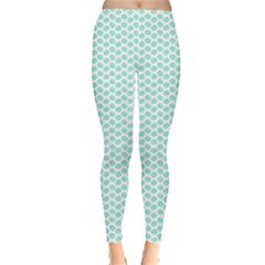 Tiffany Aqua Blue Lipstick Kisses on White Leggings