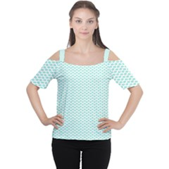 Tiffany Aqua Blue Lipstick Kisses on White Women s Cutout Shoulder Tee