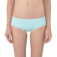 Tiffany Aqua Blue Lipstick Kisses on White Classic Bikini Bottoms