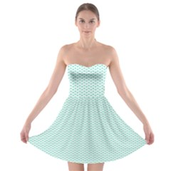 Tiffany Aqua Blue Lipstick Kisses on White Strapless Bra Top Dress