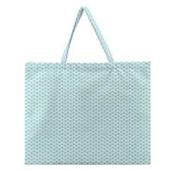 Tiffany Aqua Blue Lipstick Kisses on White Zipper Large Tote Bag