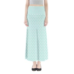 Tiffany Aqua Blue Lipstick Kisses On White Maxi Skirts