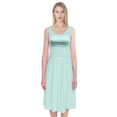 Tiffany Aqua Blue Lipstick Kisses on White Midi Sleeveless Dress