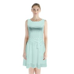 Tiffany Aqua Blue Lipstick Kisses on White Sleeveless Waist Tie Chiffon Dress