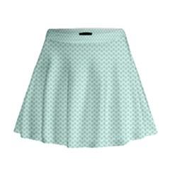 Tiffany Aqua Blue Lipstick Kisses on White Mini Flare Skirt