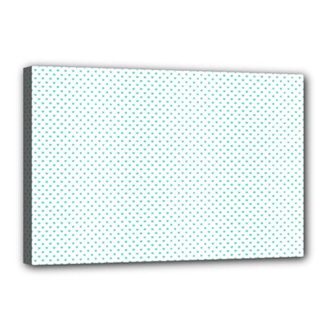 Tiffany Aqua Blue Candy Polkadot Hearts On White Canvas 18  X 12