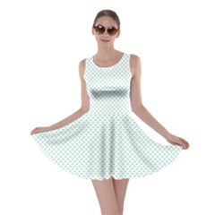 Tiffany Aqua Blue Candy Polkadot Hearts on White Skater Dress