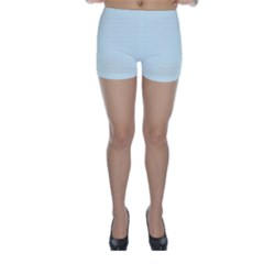 Tiffany Aqua Blue Candy Polkadot Hearts on White Skinny Shorts