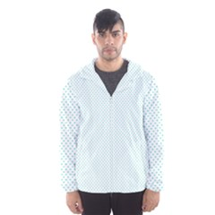 Tiffany Aqua Blue Candy Polkadot Hearts on White Hooded Wind Breaker (Men)