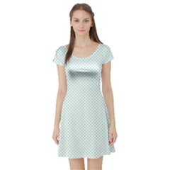 Tiffany Aqua Blue Candy Polkadot Hearts on White Short Sleeve Skater Dress