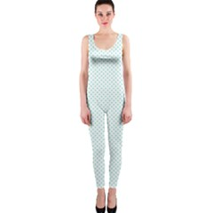 Tiffany Aqua Blue Candy Polkadot Hearts on White OnePiece Catsuit