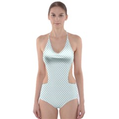 Tiffany Aqua Blue Candy Polkadot Hearts on White Cut-Out One Piece Swimsuit