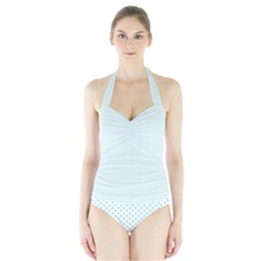 Tiffany Aqua Blue Candy Polkadot Hearts on White Halter Swimsuit