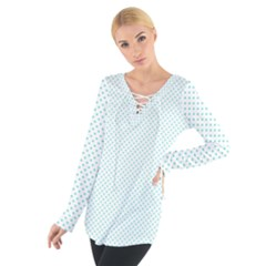 Tiffany Aqua Blue Candy Polkadot Hearts on White Women s Tie Up Tee