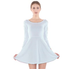 Tiffany Aqua Blue Candy Polkadot Hearts on White Long Sleeve Velvet Skater Dress