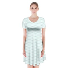 Tiffany Aqua Blue Candy Polkadot Hearts on White Short Sleeve V-neck Flare Dress