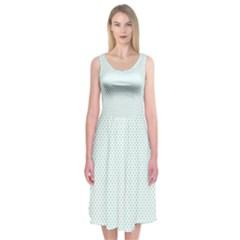 Tiffany Aqua Blue Candy Polkadot Hearts on White Midi Sleeveless Dress