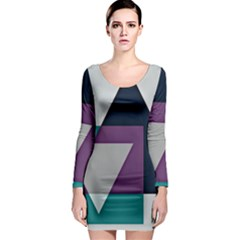 Geodesic Triangle Square Long Sleeve Bodycon Dress