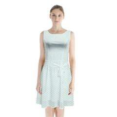Tiffany Aqua Blue Candy Polkadot Hearts on White Sleeveless Waist Tie Chiffon Dress