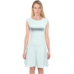 Tiffany Aqua Blue Candy Polkadot Hearts on White Capsleeve Midi Dress