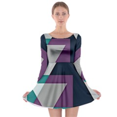 Geodesic Triangle Square Long Sleeve Skater Dress