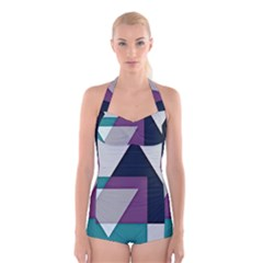Geodesic Triangle Square Boyleg Halter Swimsuit